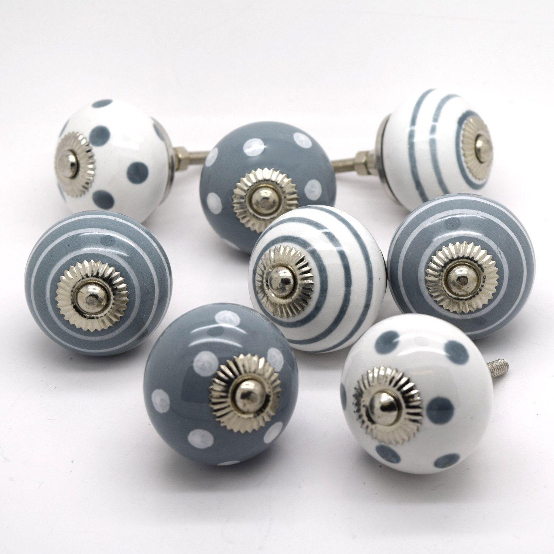 G Decor Set of 8 harmony Ceramic Door Knobs Vintage Shabby Chic Cupboard Drawer Pull Handles