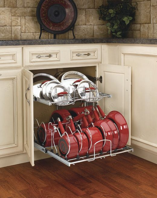 Two-Tier Chrome Cookware Organizer for a 24 Base Cabinet #cabinetorganization