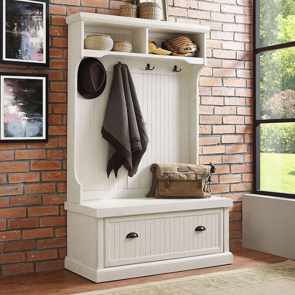 Hallway furniture coat rack  Crosley Furniture Seaside Hall Tree Storage Bench  Products