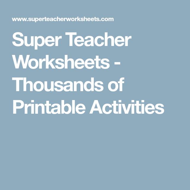Super Teacher Worksheets - Thousands of Printable Activities ...