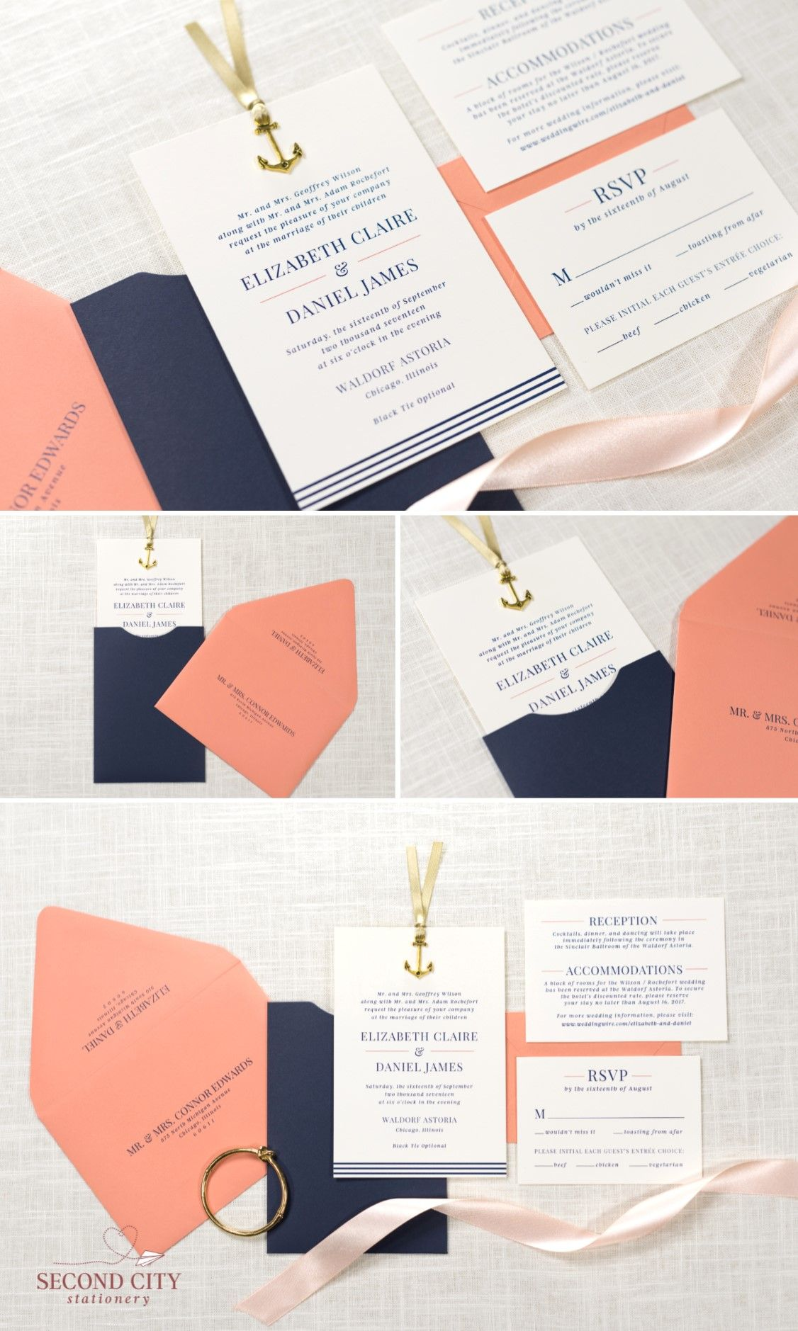 Navy Blue, Coral, and Ivory Nautical Anchor Charm Wedding Invitation ...