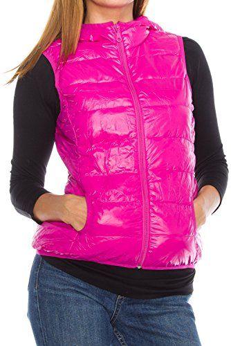 4b080ba5c Angel Cola Womens Packable Hoodie Puffer Vest J9721 Hot Pink S ...