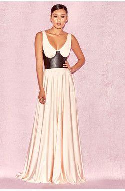eleanora blush  black leather corset gown  black leather