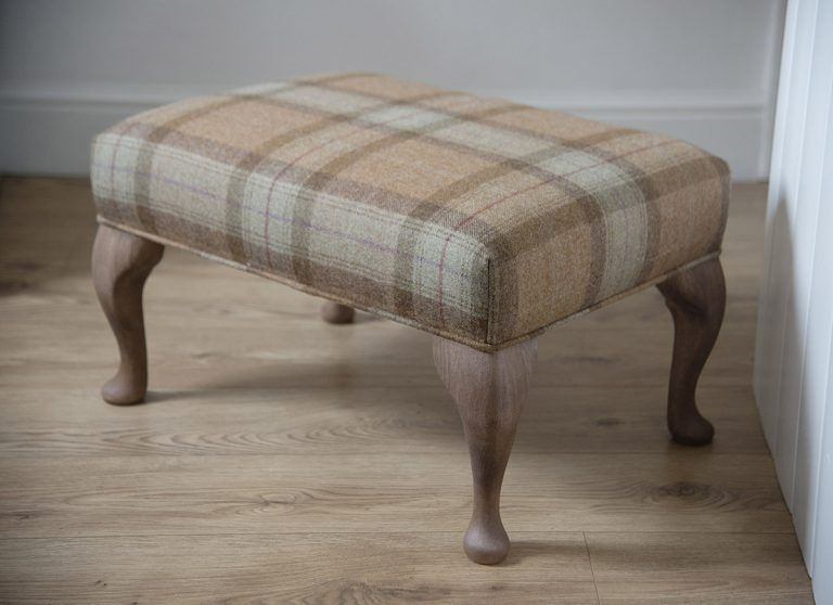 295 Handmade Footstool Upholstered In Pure Wool Tartan From The Unique Collection Of Fabrics From Abrahammoo Upholstered Footstool Footstool Large Footstools