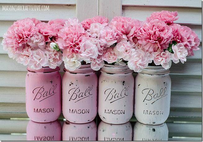 painted mason jars pink s h a b b y c h i c pinterest mason