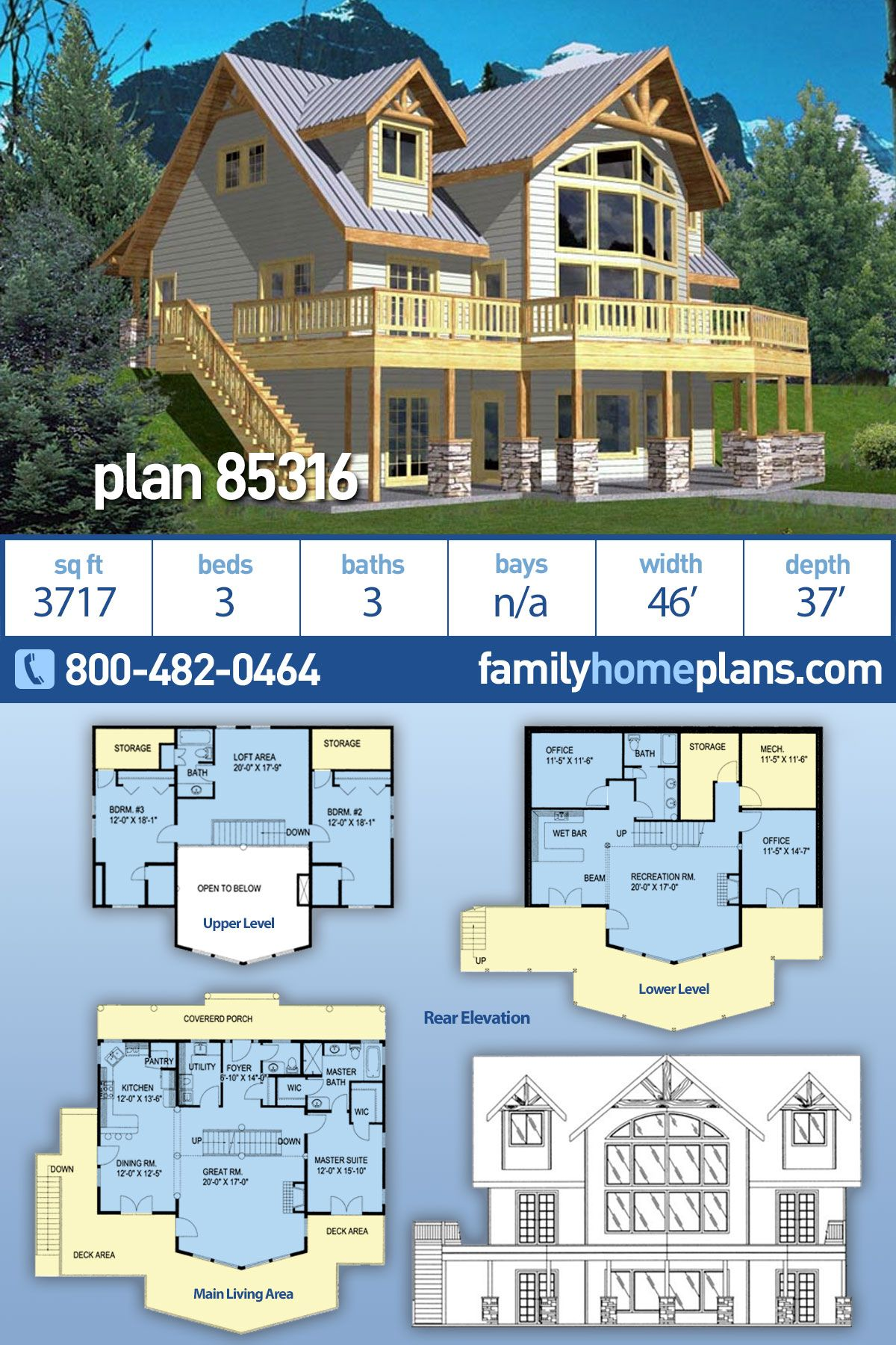 Coastal Style House Plan 85316 With 3 Bed 3 Bath Coastal House Plans House Plans Lake House Plans