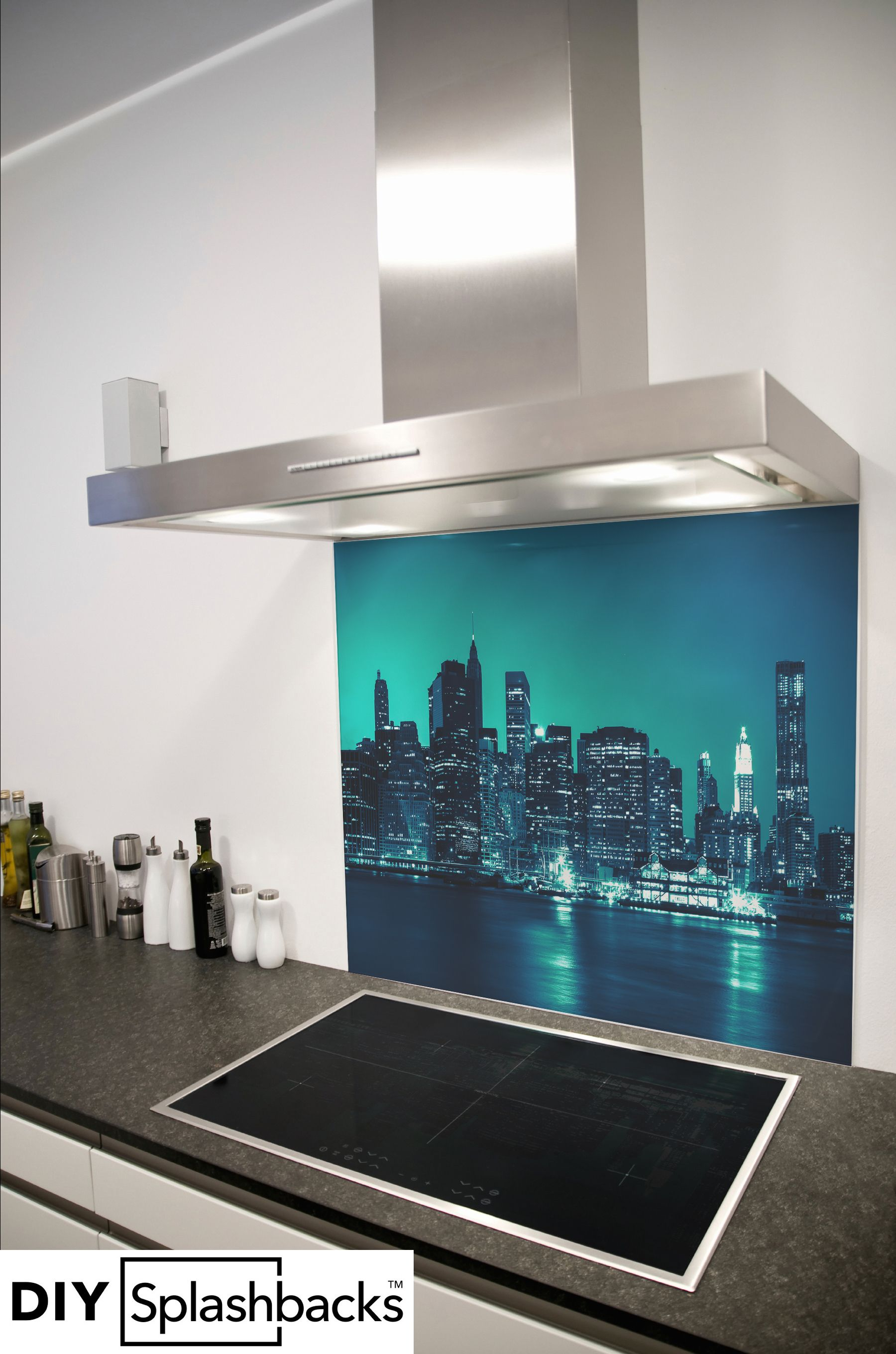 New York at night printed glass splashback. Part of the Capital City ...