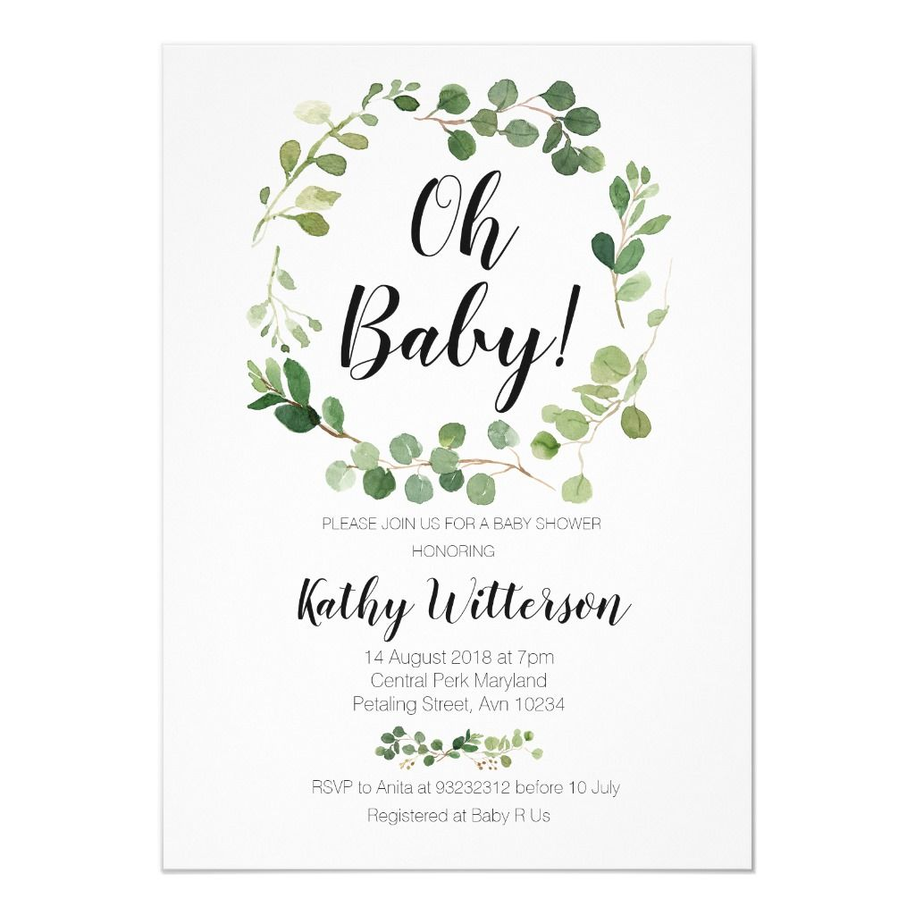 greenery oh baby shower invitation in 2020