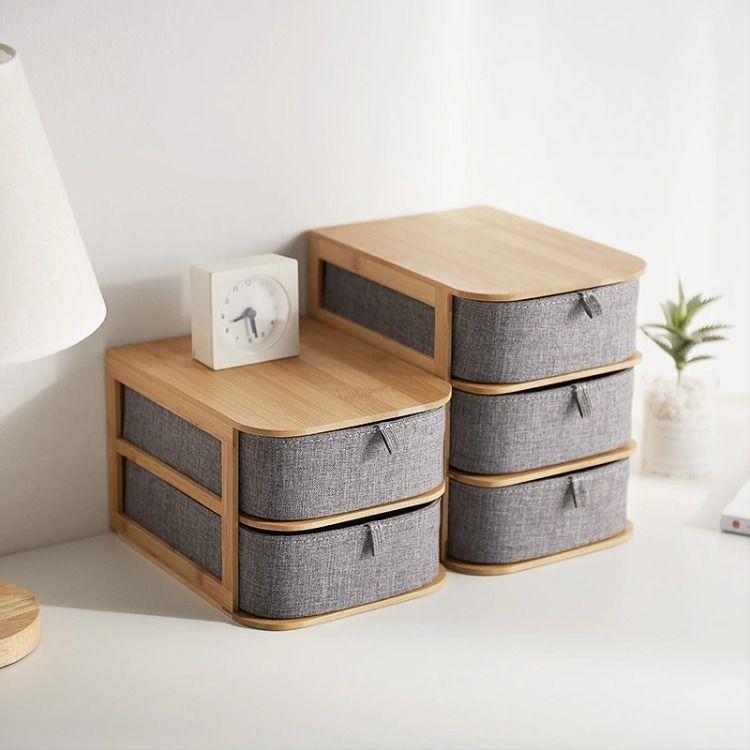 Light Wood Multi Storage Grey Organizer In 2020 Desktop Storage Desktop Organization Wooden Storage