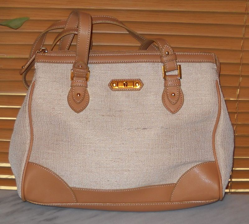 Handbag Bag Purse Etienne Aigner Ivory Linen Brown Trim Satchel New    	$29.99   #teamsellit