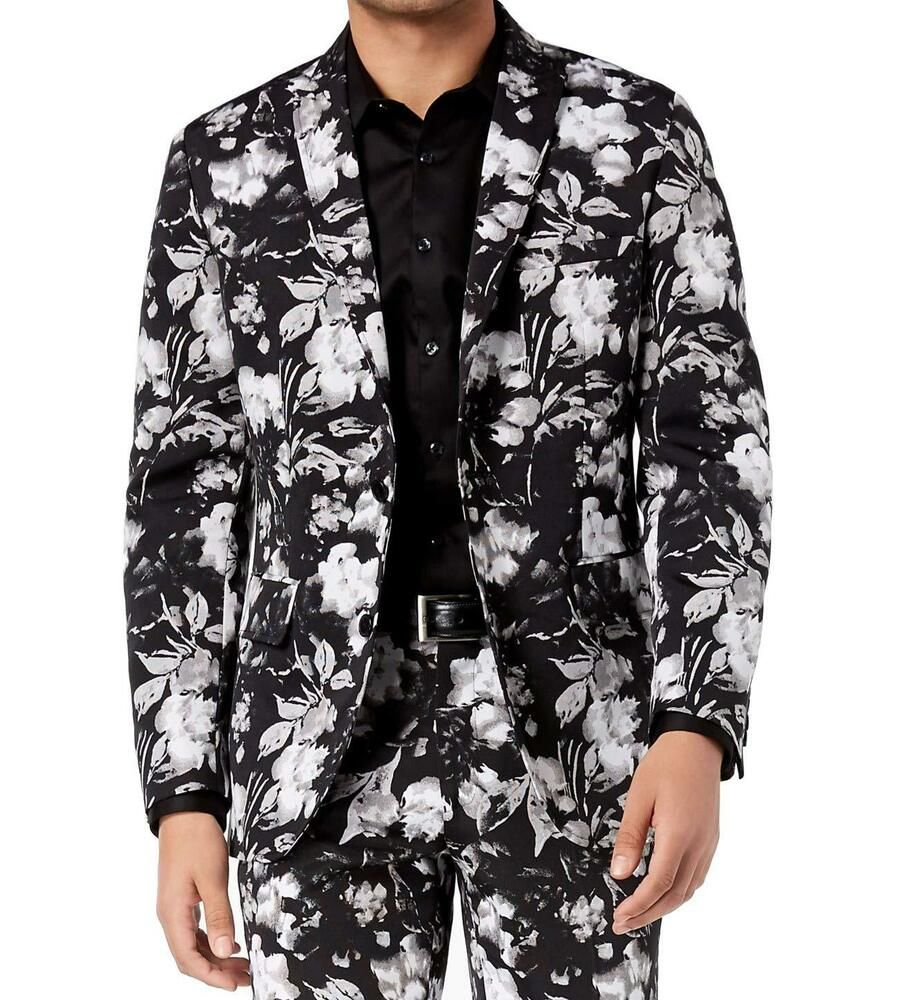 buy popular a8266 199d4 INC NEW Black Mens Size 2XL Floral Print Slim Fit Two Button Blazer  129   036  fashion  clothing  shoes  accessories  mensclothing   suitssuitseparates (ebay ...