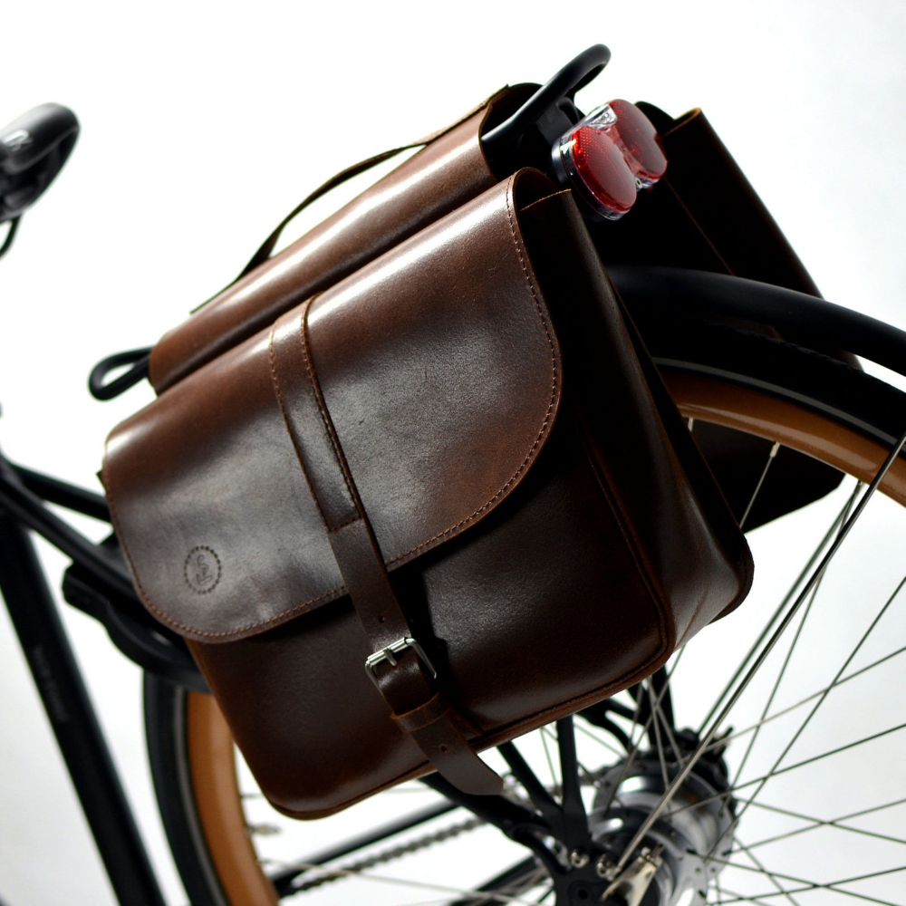 Stylish Ride Leather Bicycle Panniers Gifts For Cyclists Water Repellent Leather Hand Crafted Leather Bicycle Leather Pannier Pannier Bag