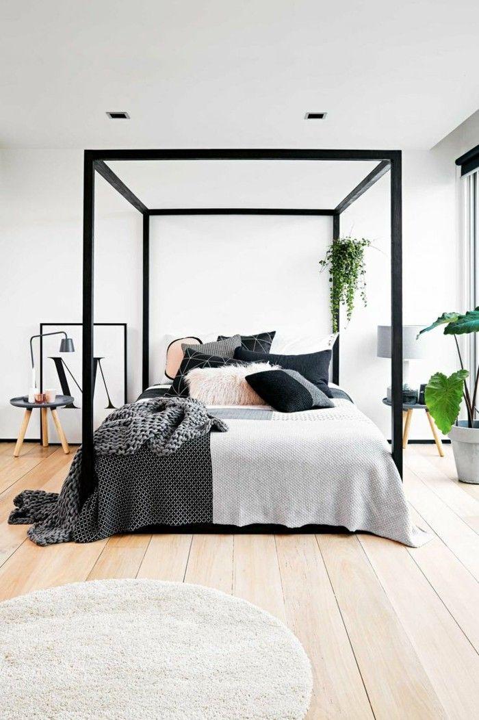 Schlafzimmer Ideen Himmelsbett Und Runder Teppich Durch Pflanzen Erfrischen