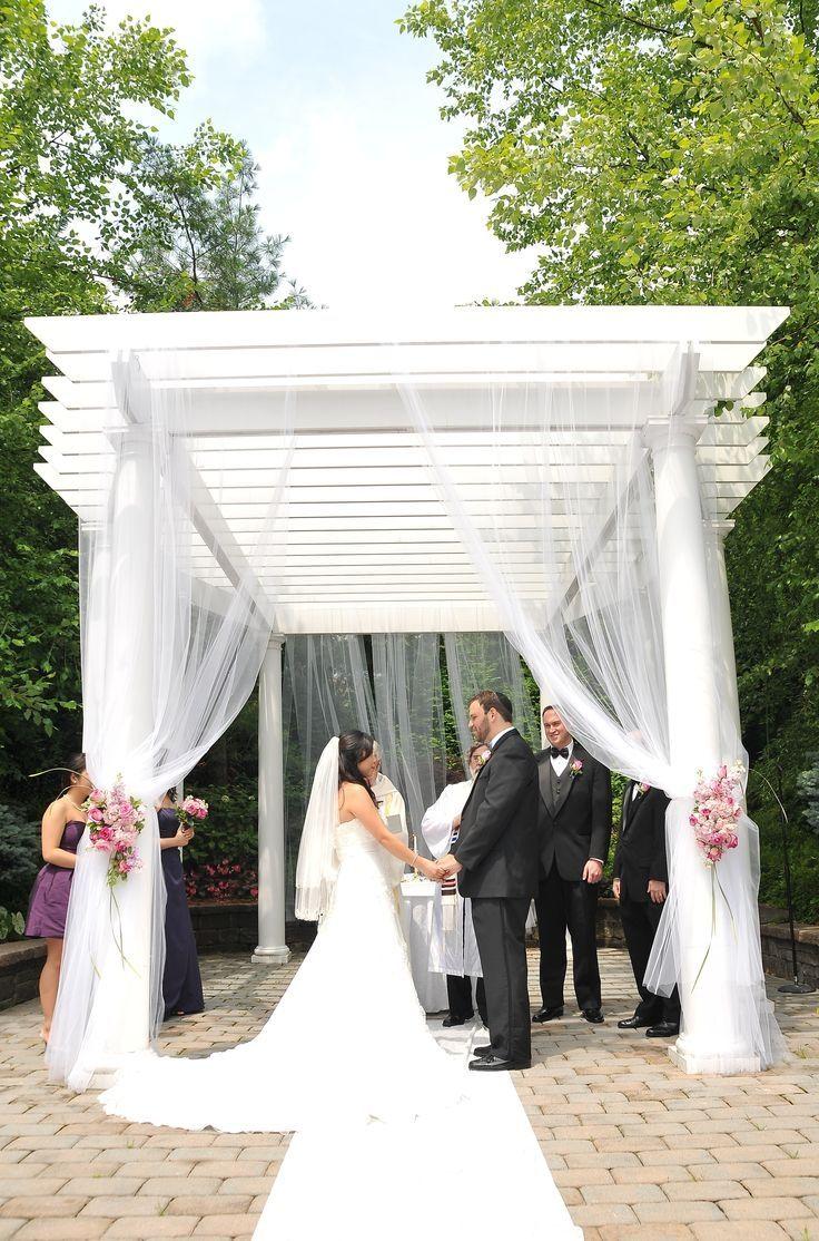 Decorating A Gazebo With Tulle Gazebo Wedding Decorations Wedding Pergola Wedding Ceremony Decorations