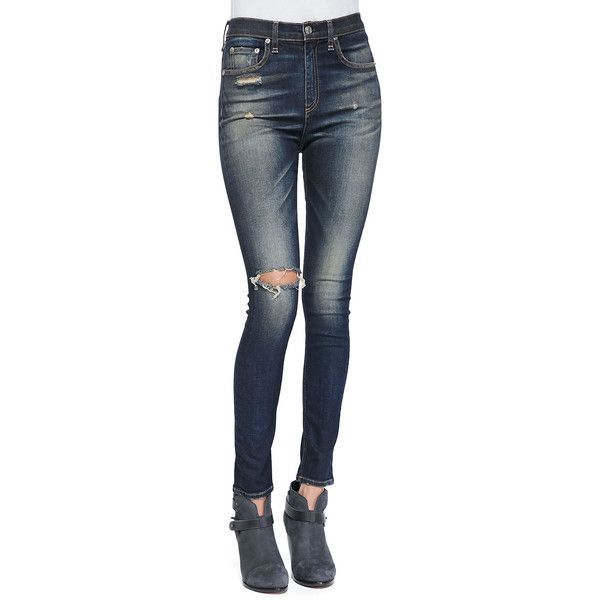rag & bone/JEAN Justine High-Rise Skinny Jeans (2.880 UYU) ❤ liked on Polyvore featuring jeans, doll parts, bottoms, pants, doll legs, mateos, ripped blue jeans, distressed skinny jeans, blue jeans and high waisted jeans