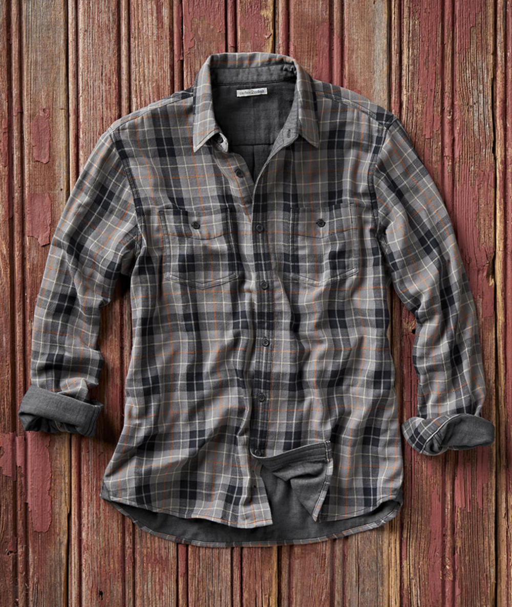 Men S Method Plaid Shirt This Vintage Cool Shirt Features A Monoprint Plaid Of Gray And Cream With A Dash Of Color Cool Shirts For Men Plaid Shirt Men Shirts