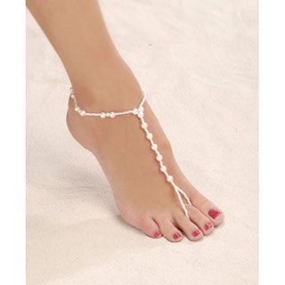 Victoria Lynn™ Pearl Foot Jewelry: Large Barefoot Sandals, size 9-10