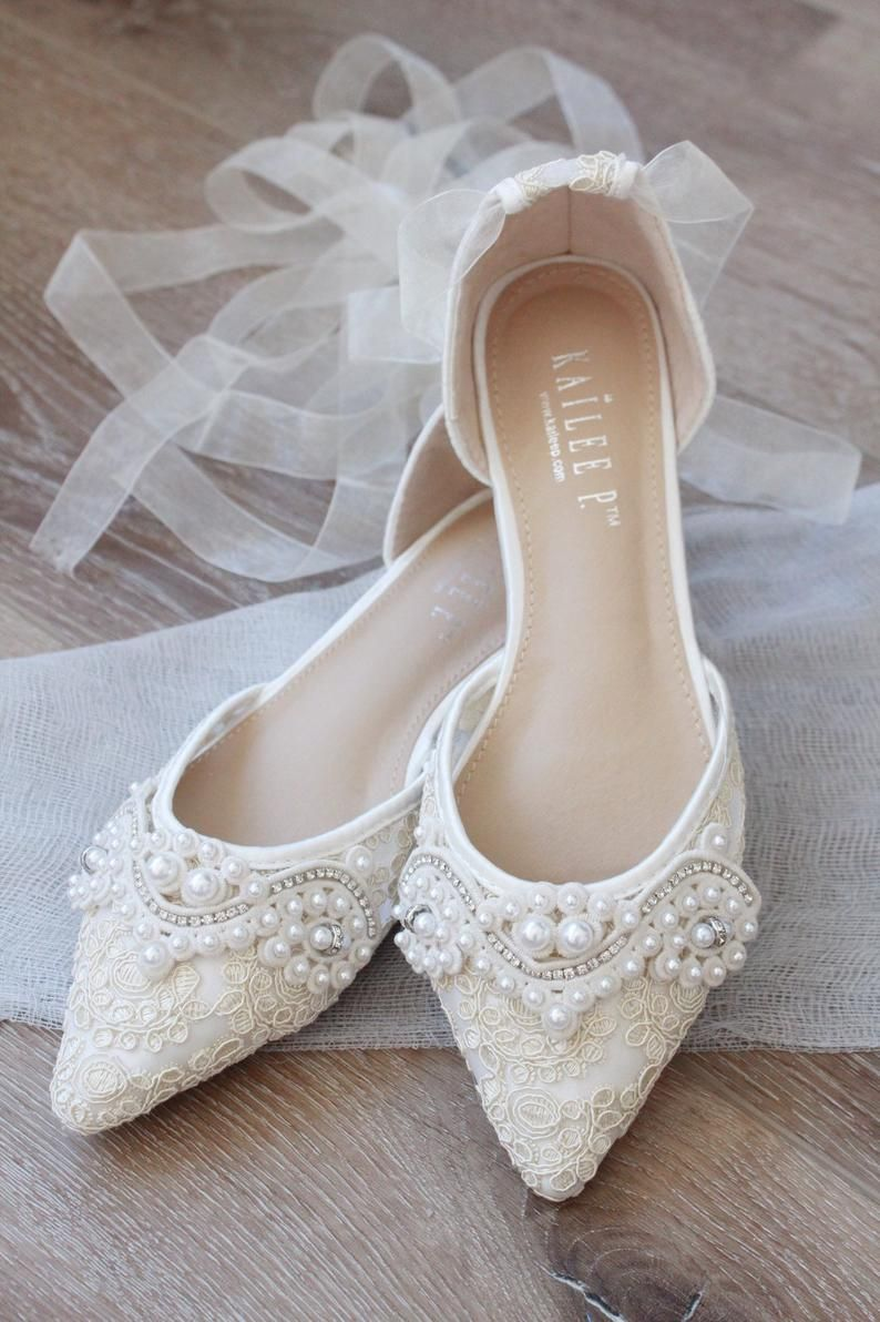 Ivory Crochet Lace Pointy Toe Flats With Pearls Applique Women