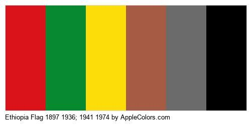 Brown 1974 Gray Country 1941 Yellow Ethiopia Flag Black Country Flags Green 1897 Red 1936 #DA1219 #078930 #FCDC09 #A55B44 #6B6B6C #000000