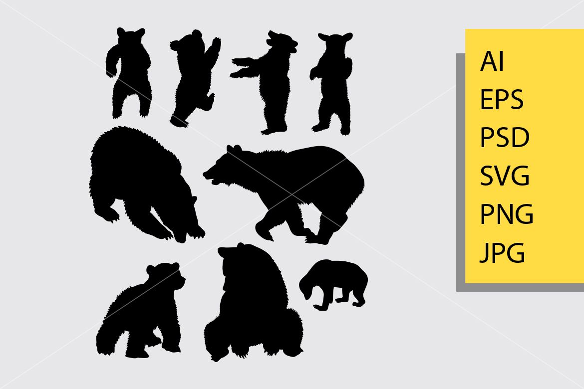 Bear Animal 5 Silhouette Graphic By Cove703 Creative Fabrica