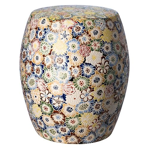 Stupendous Simple And Classic Floral Garden Stool In Multicolor Glaze Ncnpc Chair Design For Home Ncnpcorg