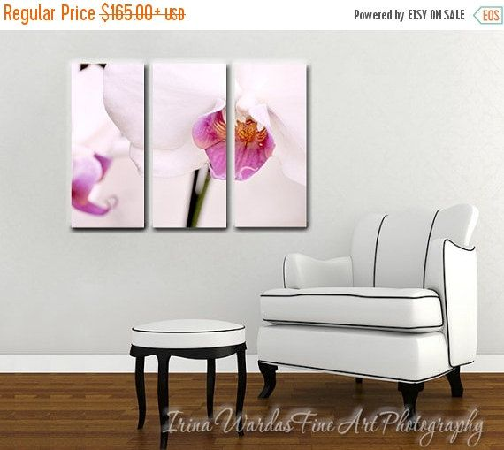 Floral canvas art, 3 piece wall art, 3 panel extra large art, orchid ...