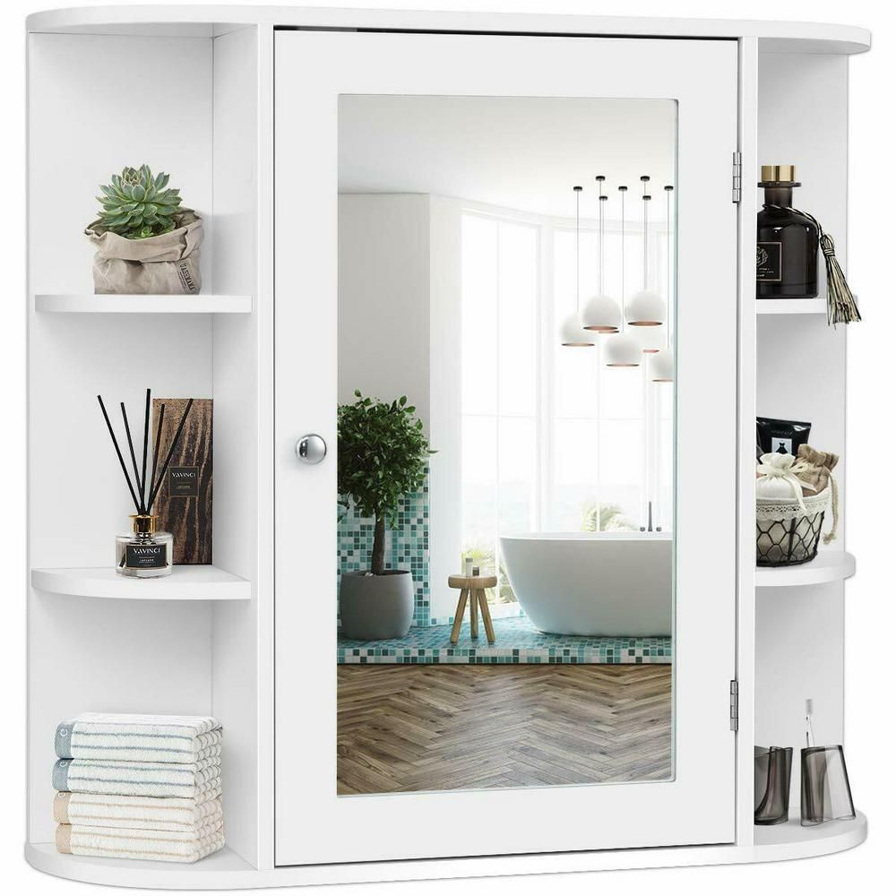 Costway 6 5 In X 25 In X 26 In White Multipurpose Wall Surface Mount Bathroom S In 2020 Bathroom Wall Cabinets Wall Mounted Medicine Cabinet Bathroom Mirror Cabinet