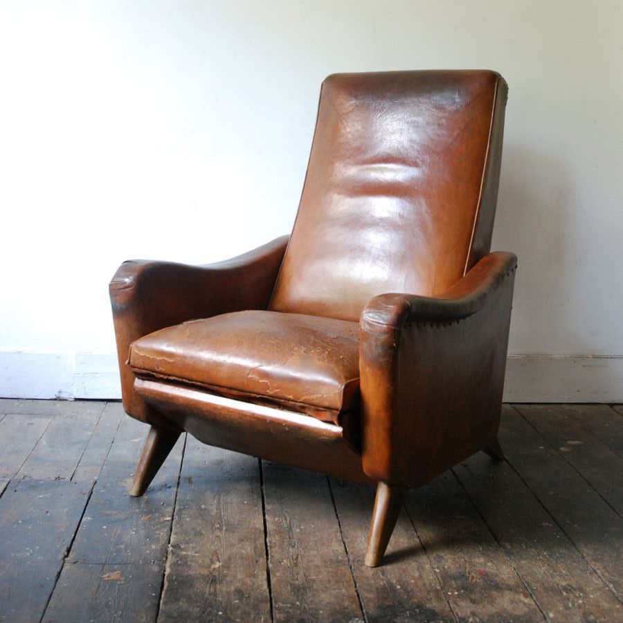 Club chair recliner - 1950 S Reclining Leather Club Chair Mid Century Armchair