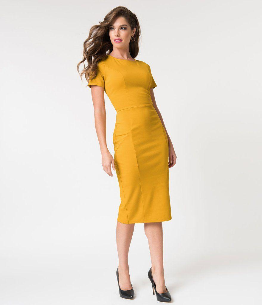 98c0805e9dbe Unique Vintage 1960s Mustard Yellow Short Sleeve Stretch Mod Wiggle Dress