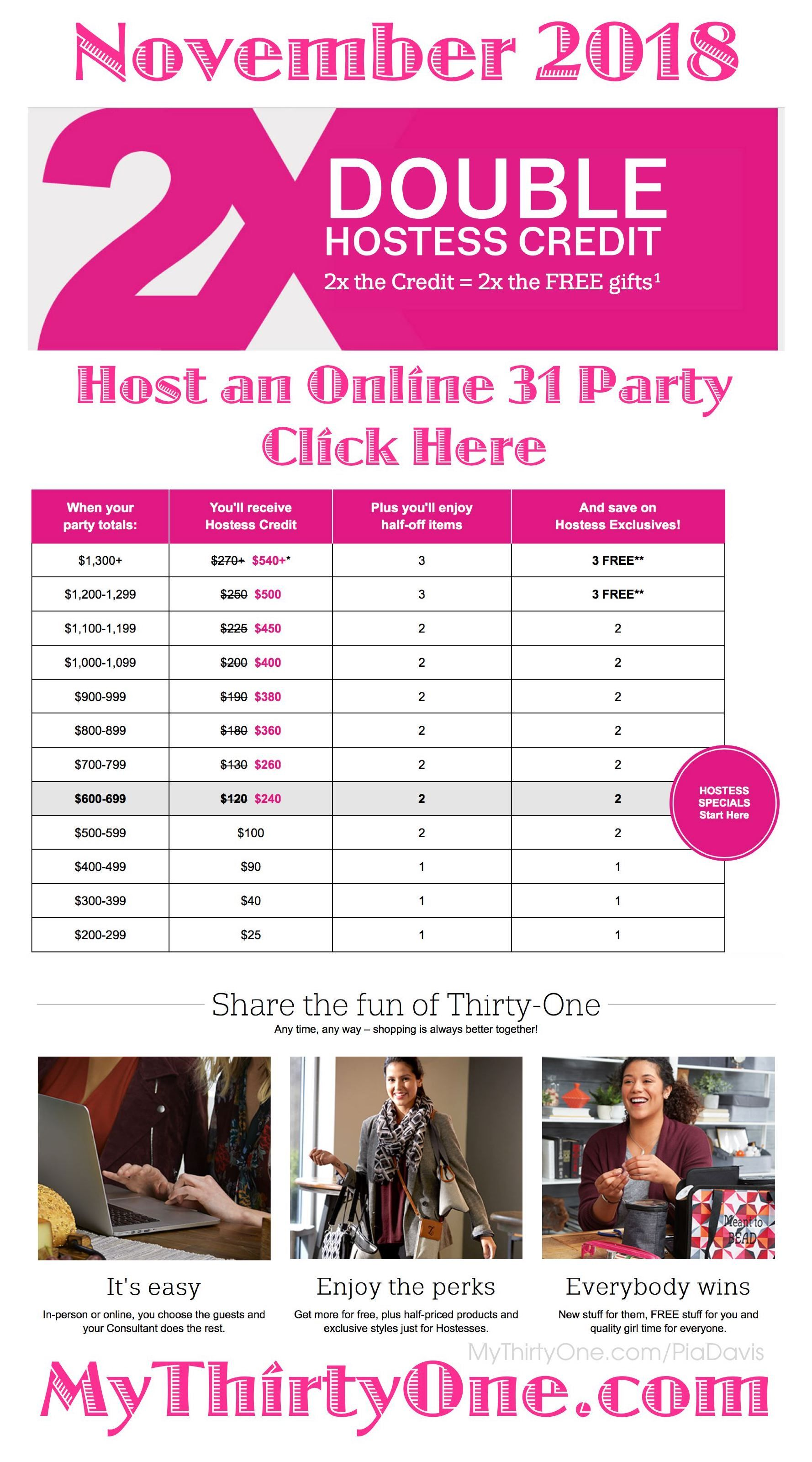 31 November 2018 - Earn Double Hostess Credit this month