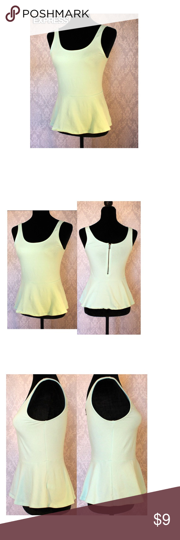 "EXPRESS PEPLUM TANK Size small petite Express tank top. Stretchy with zipper on the back. The color is between a light aqua and a mint green  Length 21"" Width 29.5 Express Tops Tank Tops"