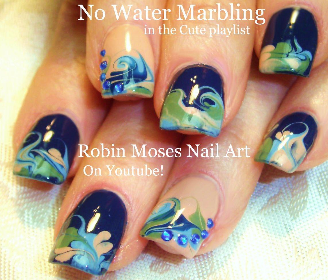 Robin Moses Nail Art Neon Rainbow Nails Done With No Water Marbling