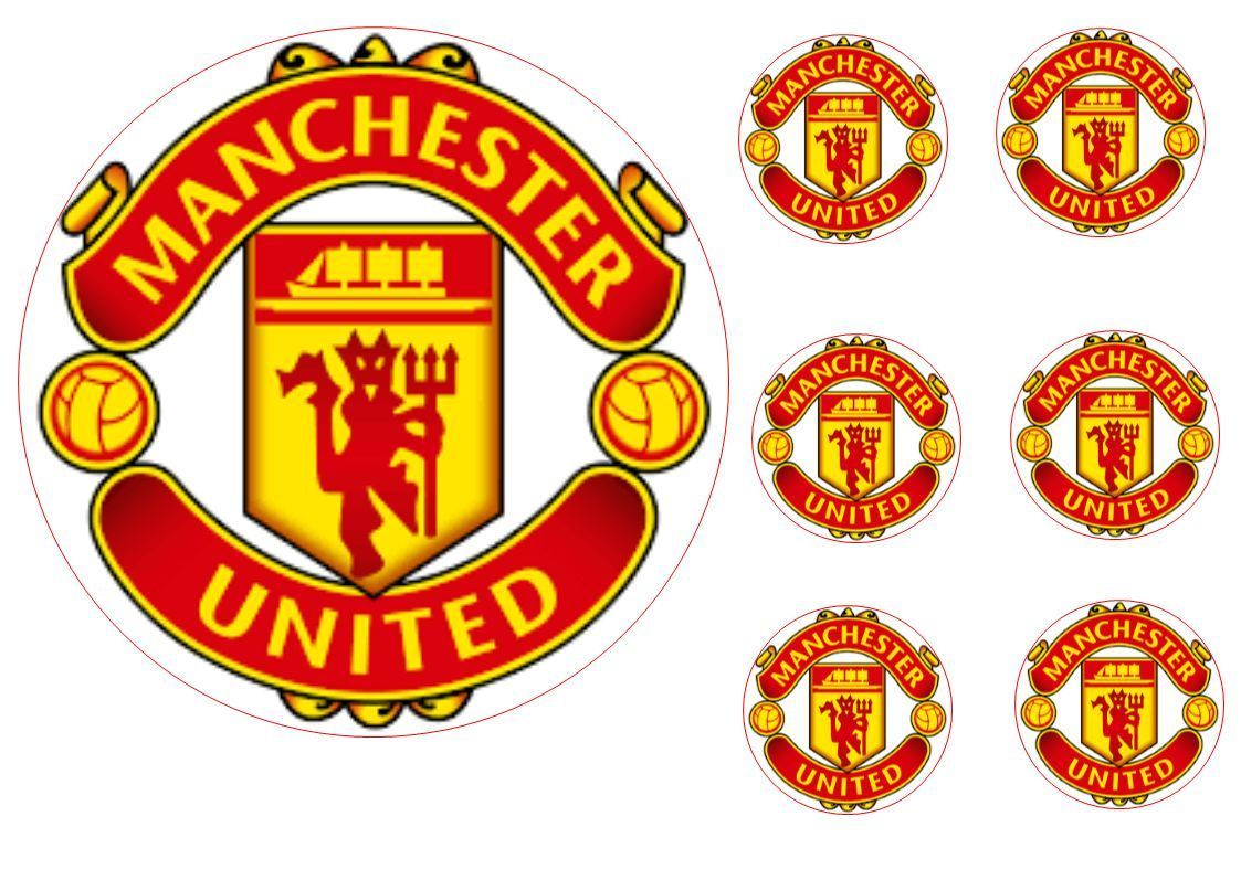 Manchester United 17cm Cake Topper With 6 5cm Cupcake Toppers Wafer Paper Wafer Paper Cake Toppers Manchester United