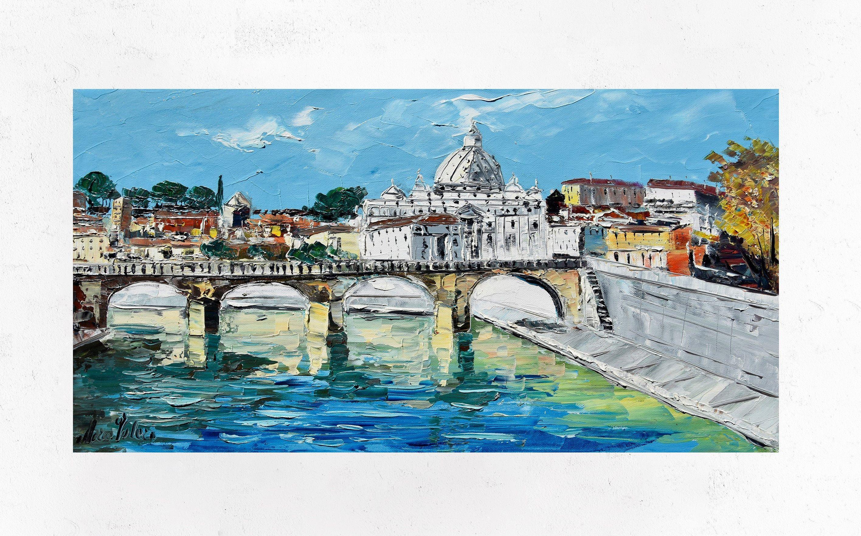 Pittura di Roma Ponte Umberto pittura su tela decorazione ...