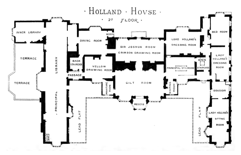 Plan of holland house 1875 first floor floor plan of the for Holland house design
