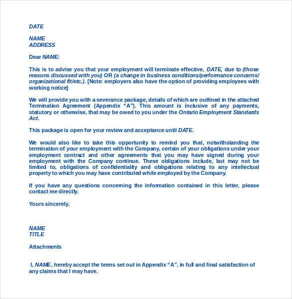 luxury letter of termination of employment template sketch