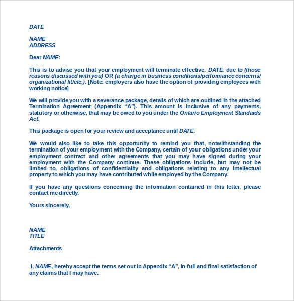 Employee Termination Letter Templates 10+ Word & PDF