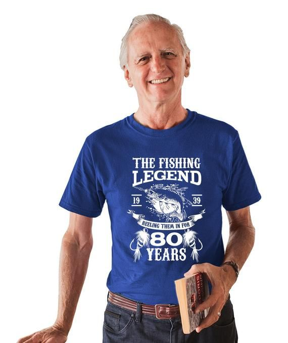 80th Birthday T Shirt Fishing Clothing Grandpa Gift Ideas For Him Bday TShirt Custom Age The Fishing #grandpabirthdaygifts