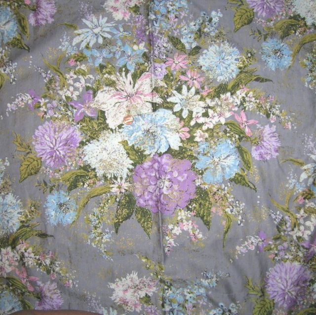 1930s Vintage Waverly Floral Drape Curtain Panels Meadowbrook Cotton Fabric