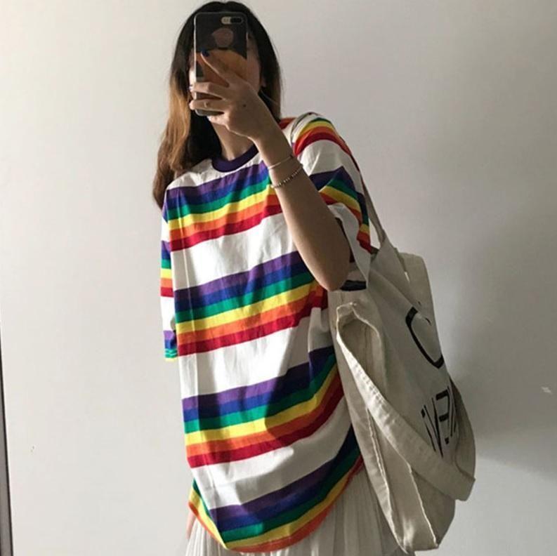 Oversized tomboy stripes rainbow long tshirt long