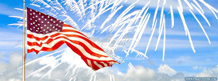Fourth Of July Flag Fireworks Facebook Cover Pagecoverscom