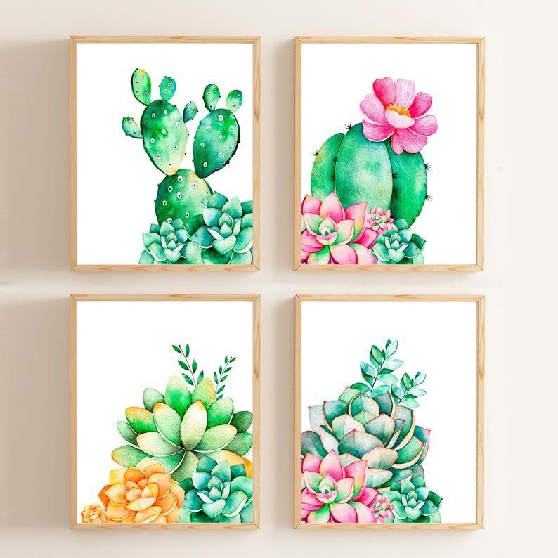 Stampa di cactus / Cactus Decor / Nursery Wall Art /Succulent stampa Home Decor Acquerello Stampa Botanica stampa cucina rustica arte parete Art Prints