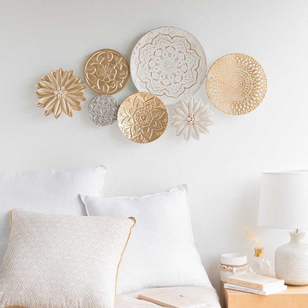 Deco Murale En Metal Blanc Et Dore 90x44 In 2018 Craft Ideas