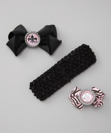 Take a look at this Black & Pink Ooh La La Bow & Headband Set by All the Little Things on #zulily today!