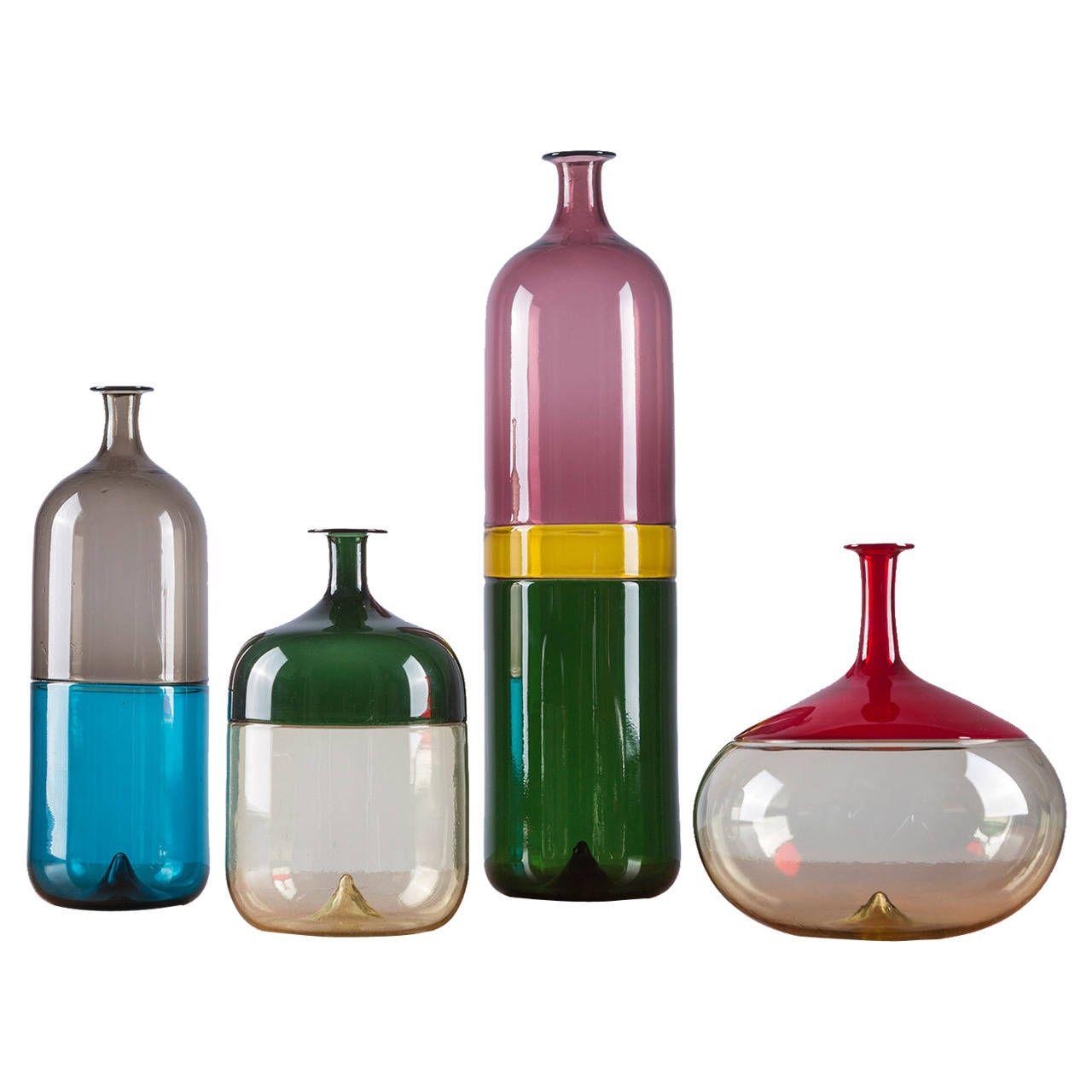 Modern Glass Vases Rare Set Of Four Bolle Vases By Tapio Wirkkala For Venini