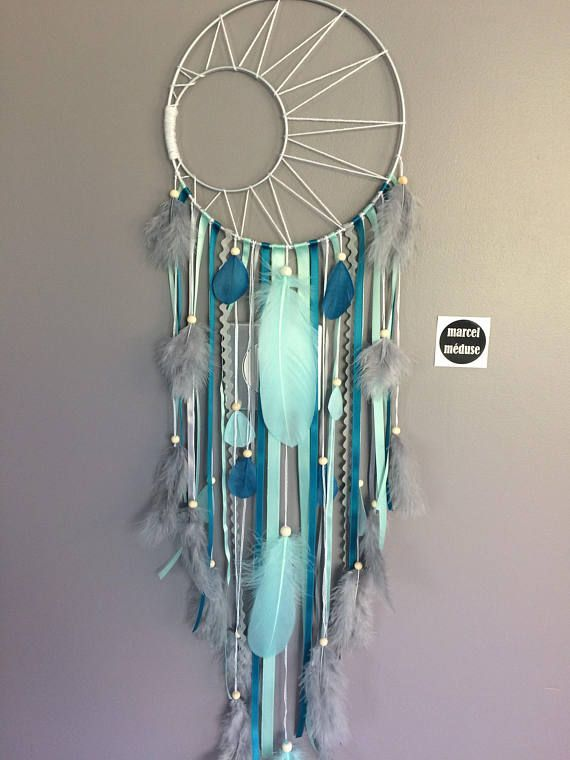 Photo of Dream catcher weaving Sun and stars in mint, Teal and gray colors #dreamcatcher …