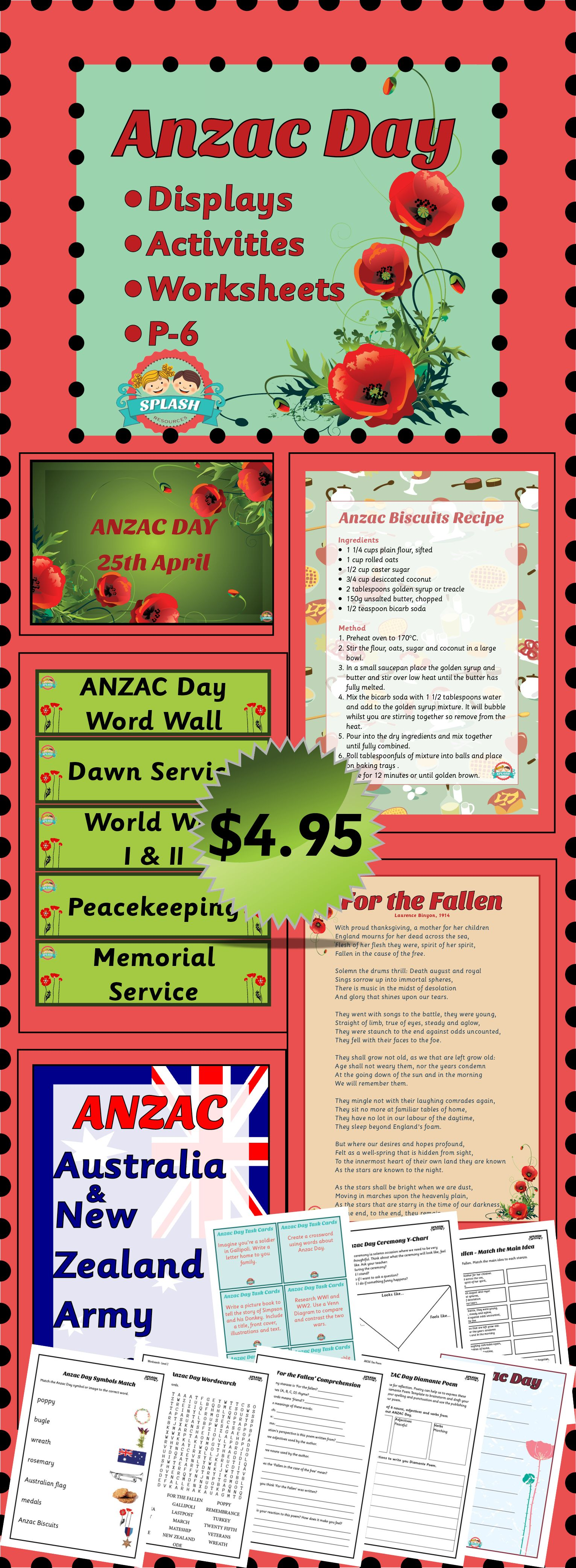 Anzac Day (25 April) posters, task cards, activities and worksheets for Year 1, 2, 3, 4, 5 and 6. $4.95 #splashresources #themebook #australia #holidays #remembranceday #history #socialstudies #australiancurriculum #acara #LBH006 #ACHHK003 #ACHHK063 #ACHHS066