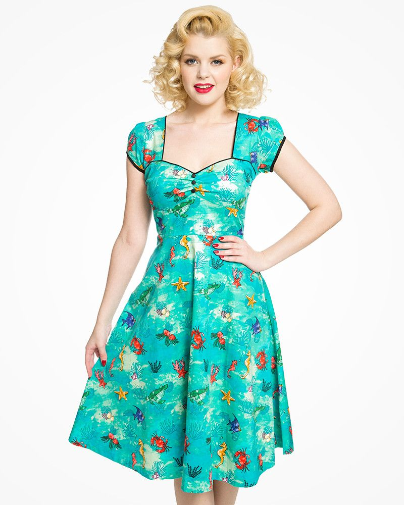 eae85a08711 Bella  Adorable 1950s Style Seahorse Print Cotton Swing Dress ...