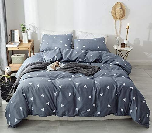 Photo of Janzaa 3pcs Triangle Comforter Set King, Soft Microfiber Modern Pattern Home Bedding Comforter Set with 2 Pillow Cases(King)