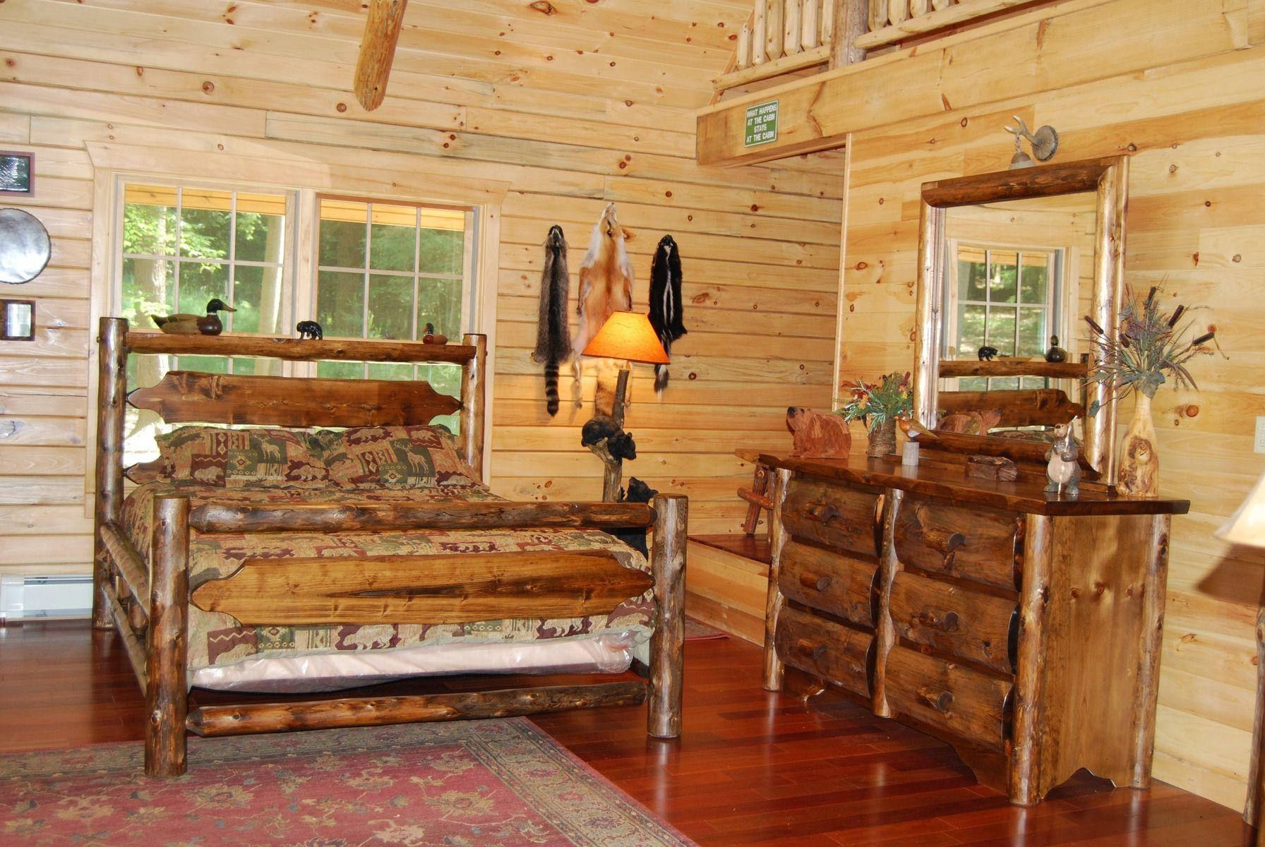 Custom Made Timber Ridge Cedar Log Slab Bed Rustic